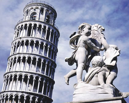 The architectural wonder of the Leaning Tower of Pisa, in the heart of Rome.