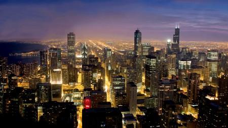 Chicago blue hour